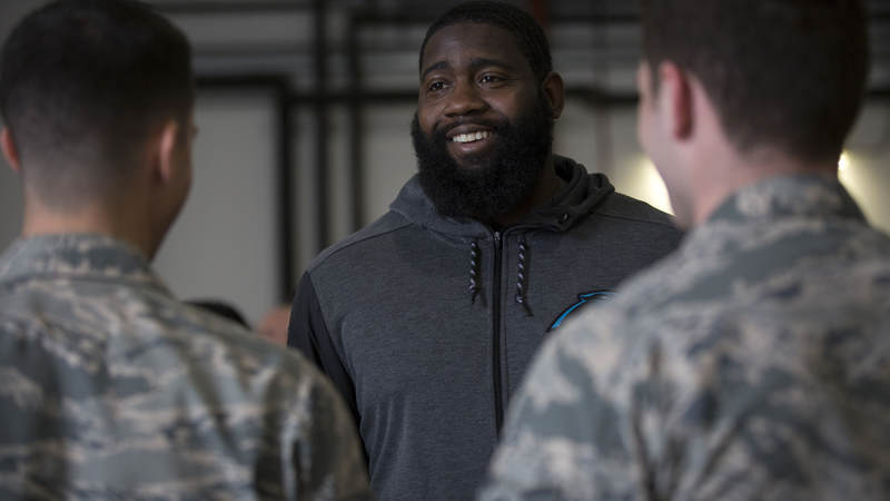 Carolina Panthers defensive end Mario Addison joined four fellow NFL players and former coach Rex Ryan on the 2018 USO-NFL tour.