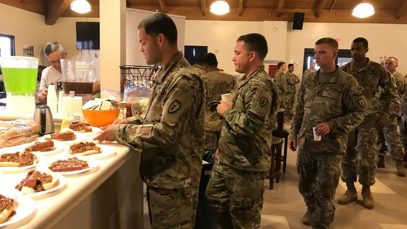 Troops line up for pie at USO Pohakuloa Training Center