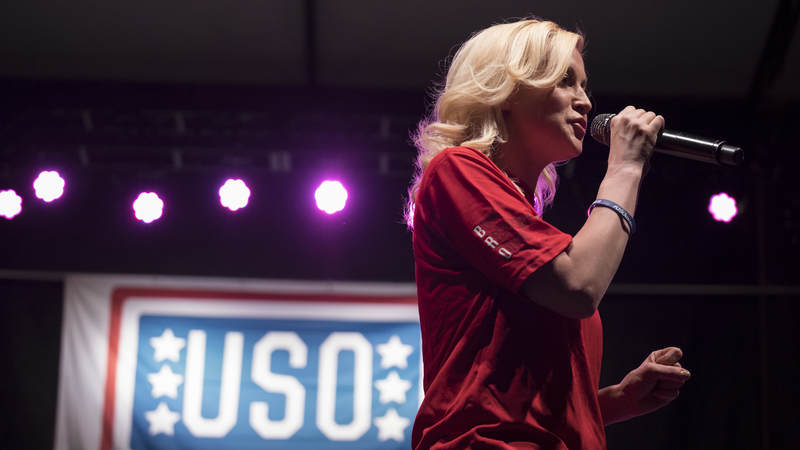 Country recording artist Kellie Pickler performs for the crowd at Fort Riley, Kansas.