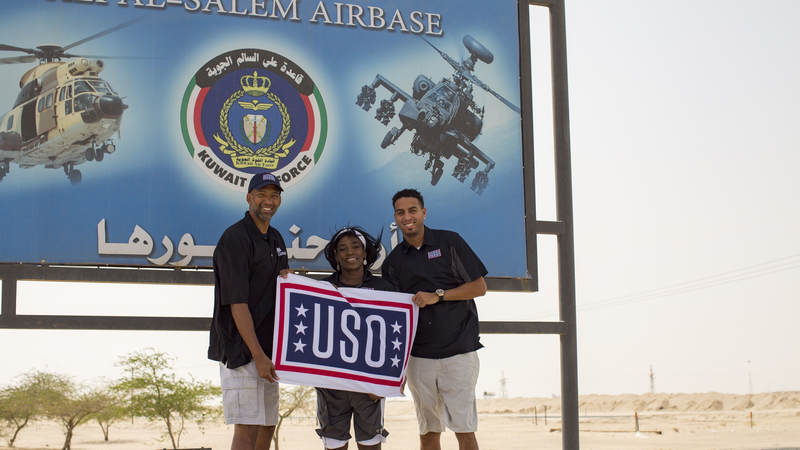 Monty Williams, Ruthie Bolton, Kevin Martin pose at Ali Al Salem Air Base, Kuwait.