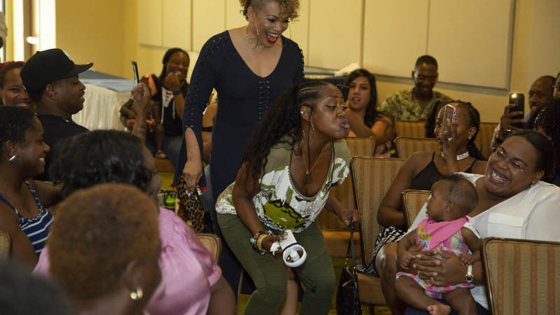 """Actresses Tichina Arnold, right, and Tisha Campbell-Martin, the dynamic duo from the popular 1990s sitcom """"Martin,"""" hosted a """"Girl Talk"""" workshop and meet-and-greet event for military spouses at Keesler Air Force Base, Mississippi, on July 7."""