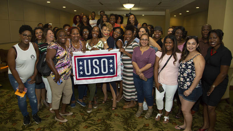 """Actresses Tichina Arnold and Tisha Campbell-Martin, the dynamic duo from the popular 1990s sitcom """"Martin,"""" hosted a """"Girl Talk"""" workshop and meet-and-greet event for military spouses at Keesler Air Force Base, Mississippi, on July 7."""