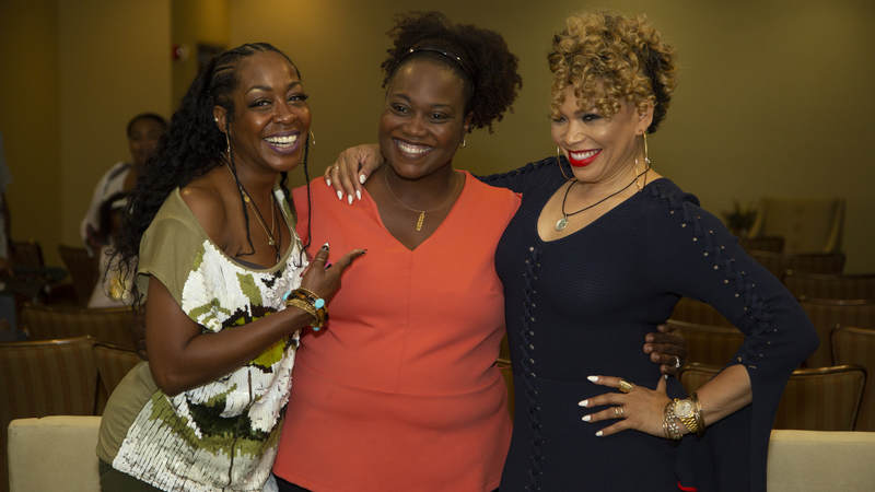 """Actresses Tichina Arnold, left, and Tisha Campbell-Martin, right, the dynamic duo from the popular 1990s sitcom """"Martin,"""" hosted a """"Girl Talk"""" workshop and meet-and-greet event for military spouses at Keesler Air Force Base, Mississippi, on July 7."""