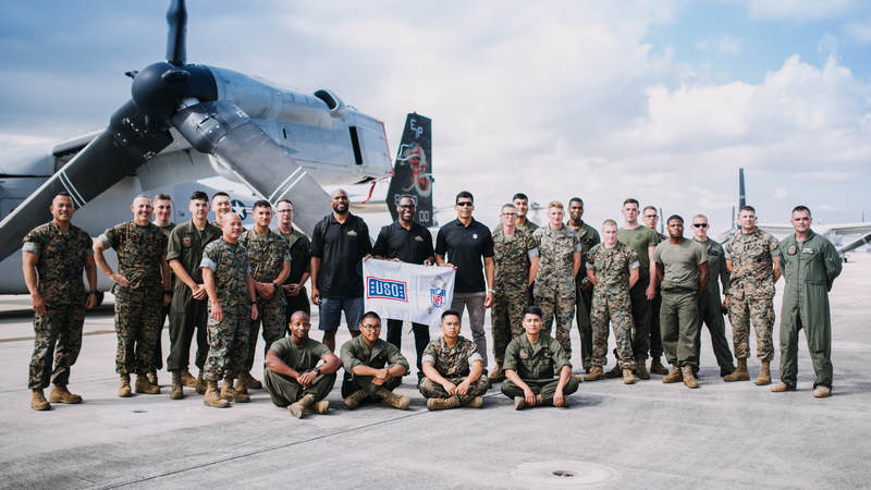 NFL legends Donnie Edwards, Tony Richardson and Amani Toomer traveled to Okinawa, Japan, July 25-26 to connect with American service members and their families and show their gratitude for our men and women in uniform. USO photos by Amber Craig