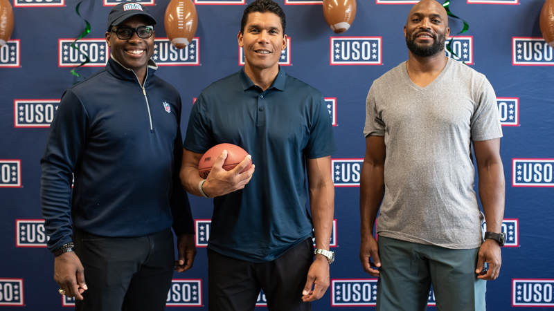 NFL legends Donnie Edwards, center, Tony Richardson, left, and Amani Toomer traveled to Okinawa, Japan, to connect with American service members and their families and show their gratitude for our men and women in uniform. USO photos by Amber Craig