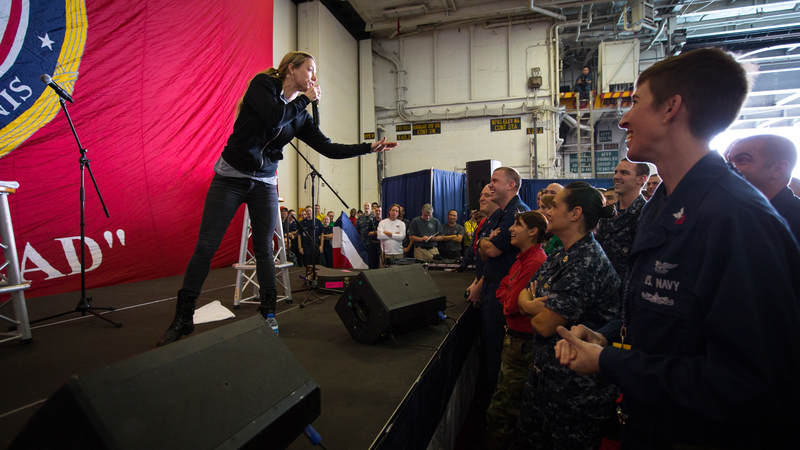 Iliza Shlesinger performs onboard the USS John C. Stennis during the 2012 Chairman's Holiday Tour.