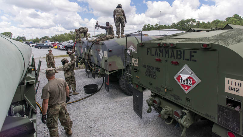 South Carolina National Guard soldiers fuel tanker trucks for distribution in preparation of Hurricane Florence.