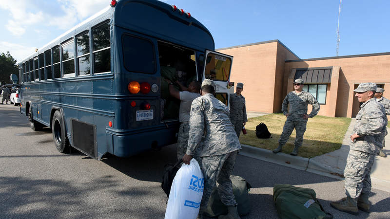 Airmen prepare to deploy to Bluffton, South Carolina in advance of Hurricane Florence.