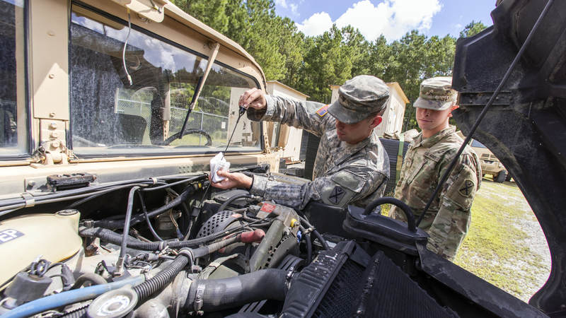 South Carolina National Guard soldiers preform preventative maintenance checks to unit vehicles in preparation of Hurricane Florence.