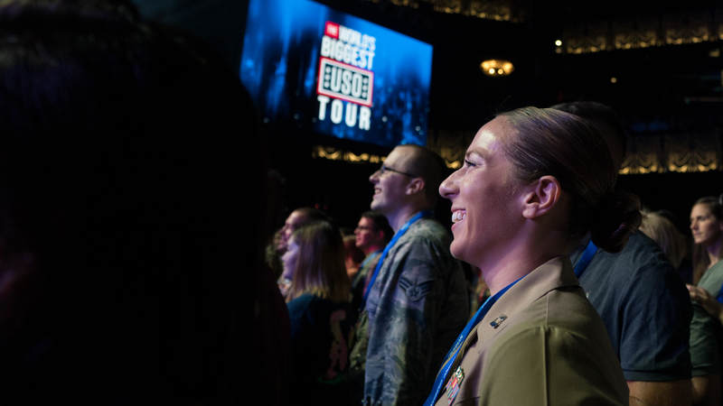 Service members enjoy the music of Florida Georgia Line at the World's Biggest USO Tour, a live entertainment experience at The Anthem in Washington, D.C., Sept. 12, 2018, bringing the USO mission to life and paying tribute to service members around the world.