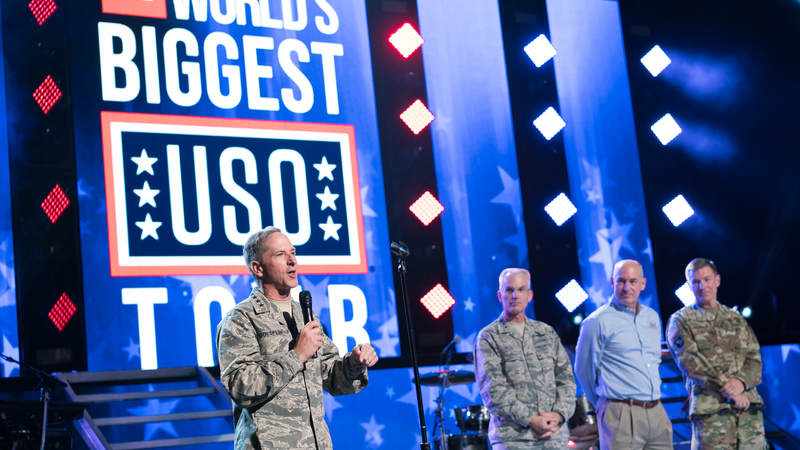 General David Goldfein, Chief of Staff of the Air Force, engages with the audience at the World's Biggest USO Tour, a live entertainment experience at The Anthem in Washington, D.C., Sept. 12, 2018, bringing the USO mission to life and paying tribute to service members around the world.