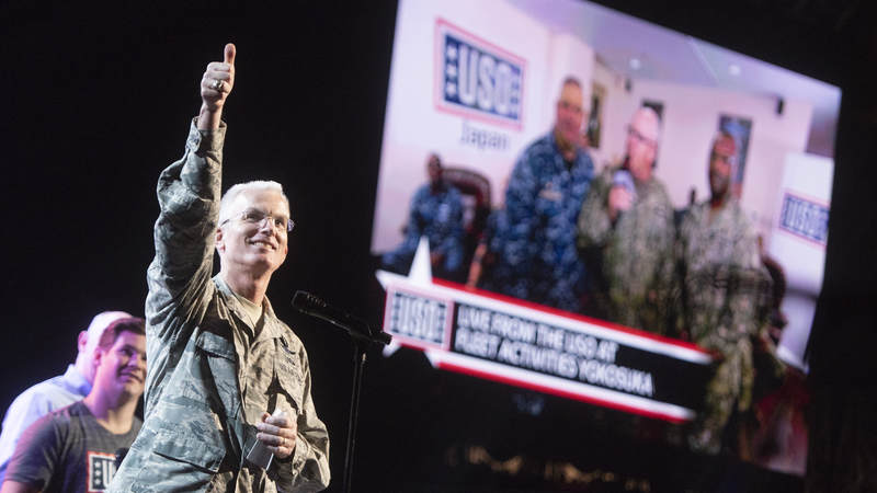 Air Force Gen. Paul J. Selva, vice chairman of the Joint Chiefs of Staff, addresses sailors at the USO in Yokosuka, Japan via streaming video during the World's Biggest USO Tour in Washington, D.C., Sept. 13, 2018. Performances from Florida Georgia Line, actor-comedian Adam Devine and Celebrity Chef Robert Irvine were live-streamed to service members in at 88 USO locations across the United States and around the world.