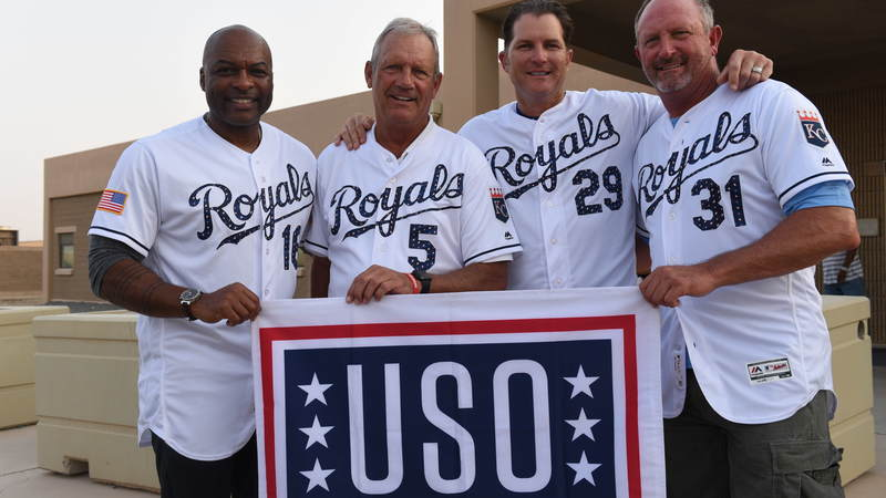 Kansas City Royals greats Reggie Sanders, George Brett, Bret Saberhagen and Mike Sweeney traveled to Kuwait this week to connect with American service members and show their gratitude for our men and women in uniform. USO Photo by Neal Preston.