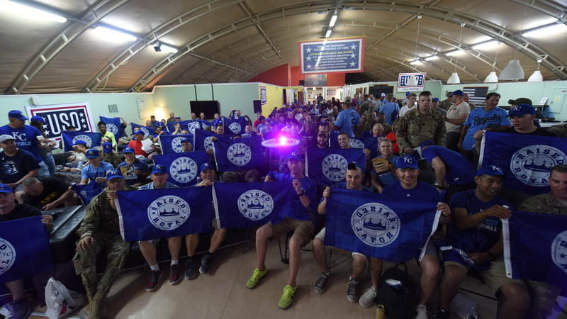 Service members and Kansas City Royals greats came together to watch the Sept. 11, 2018, game in Kansas City, Mo., live while on tour with the USO in Kuwait. USO Photo by Neal Preston.