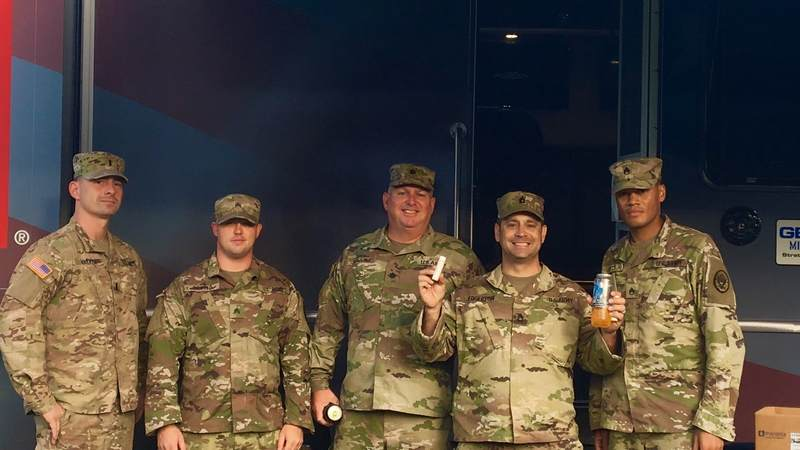 Members of the National Guard take a well-deserved break at our USO Mobile Units, which are stationed in South Carolina, in between search and rescue missions.