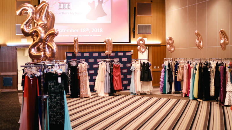USO Okinawa hosts Operation That's My Dress for female military spouses and service members. USO Photo by Ashley Perez.
