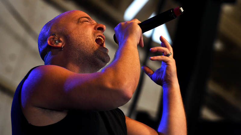 David Draiman, Disturbed lead vocalist, performs for Creech Air Force Base airmen Oct. 23.