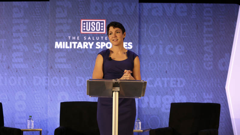 Amy Bushatz, executive editor at military.com as emcee of the Salute to Military Spouses event.