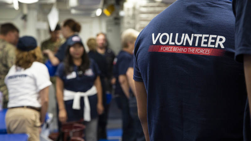 A USO volunteer supports sailors at Naval Base Rota, Spain in October 2018.