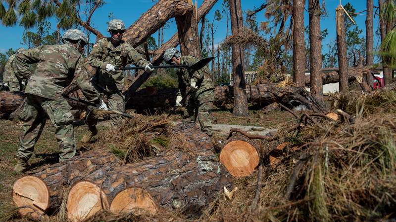 Service members are rebuilding Tyndall Air Force Base in the wake of Hurricane Michael's destruction.