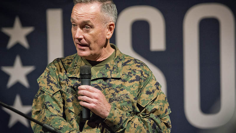 Chairman of the Joint Chiefs of Staff Marine Gen. Joseph Dunford Jr. introduces a USO performance.