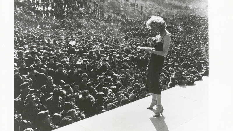 Marylin Monroe at a USO show in Korea in 1954.