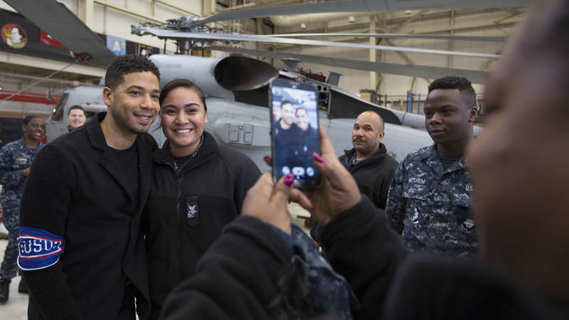 "Jussie Smollett from Fox's ""Empire"" poses for a photo during a USO tour to Japan."