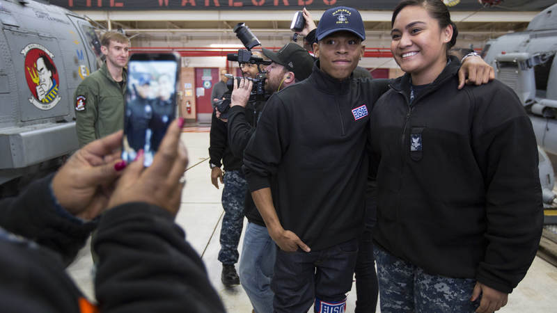 "Bryshere Gray from Fox's ""Empire"" poses for a photo during a USO entertainment tour in Japan"