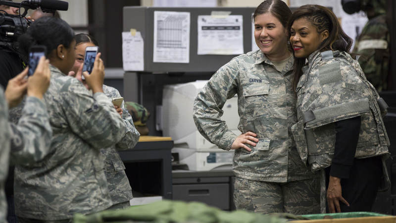 "Taraji P. Henson from Fox's ""Empire"" poses for a photo during a USO entertainment tour to Japan."