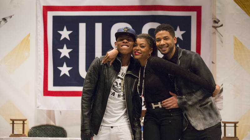 """Empire"" actors Bryshere Gray, left, Taraji P. Henson and Jussie Smollett pose during their USO entertainment tour in Japan."