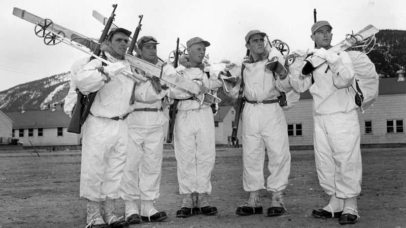 Members of the 10th wear their winter white uniforms at Camp Hale, Colorado.
