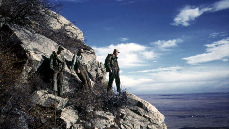Three 10th Mountain Division soldiers pose for a photograph on Cheyenne Mountain in Colorado in February 1944.