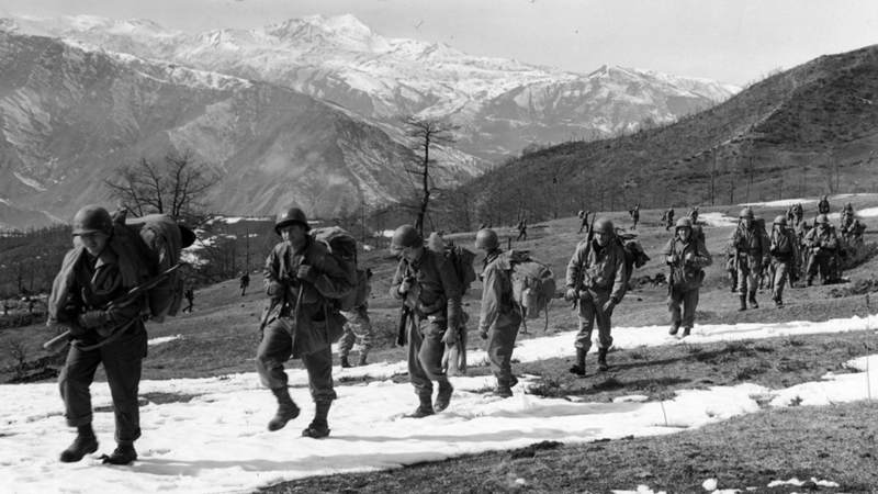 After securing Riva Ridge, left, and Mount Belvedere, right, 10th Mountain Division soldiers move onto the next objective.