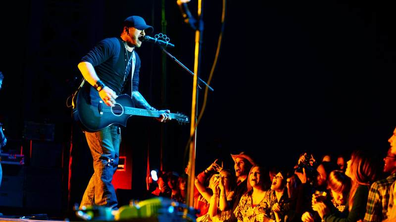 Country music star Brantley Gilbert performs a USO show at Aviano Air Base in Italy in March 2013.
