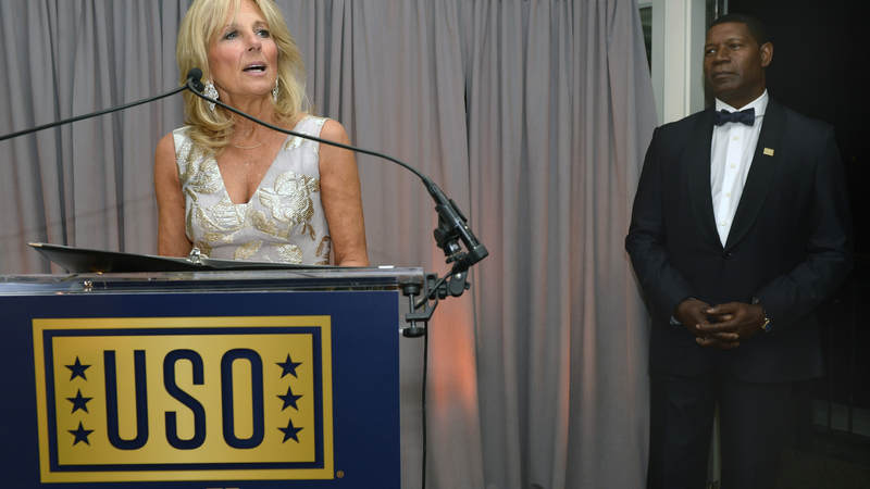 Dr. Jill Biden speaks at the USO's 75th Anniversary Reception.