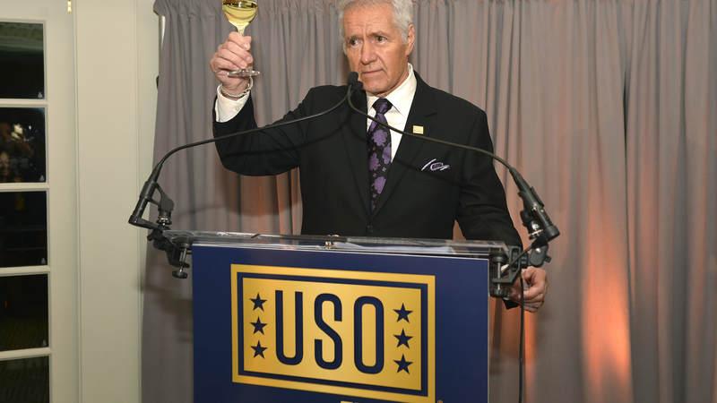 """Jeopardy!"" host Alex Trebek offers a toast to the USO."