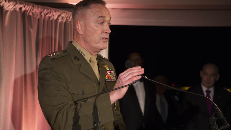 Marine Gen. Joseph Dunford, chairman of the Joint Chiefs of Staff, delivers his remarks.