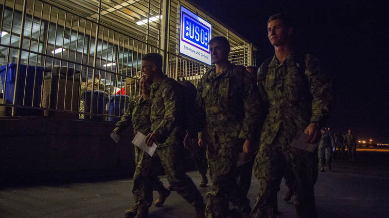 Navy Seabees arrive at USO Ontario on Feb. 8 at 1:30 a.m. for a 45-minute layover from Guam on their way home to Gulfport, Mississippi.