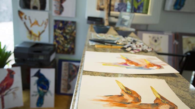 Works in progress sit in V Rae's studio.