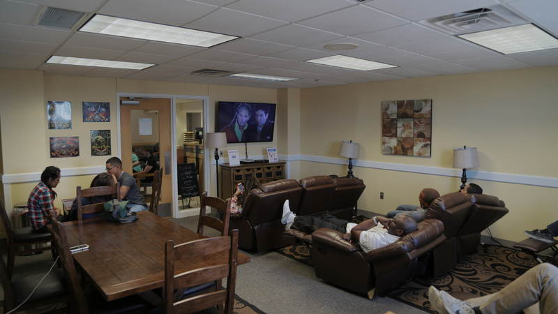 The USO location inside the San Antonio Military Entrance Processing Station is outfitted with comfortable recliners.