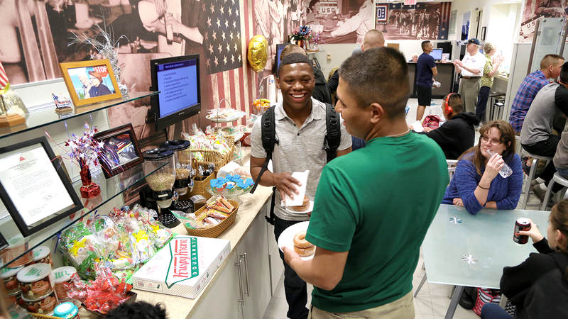 A pair of Marines check out the snacks on hand at the USO center in Terminal 2 of Raleigh-Durham International Airport on March 9.