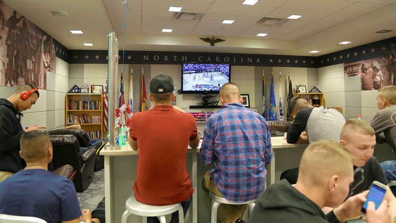 There wasn't a seat to be had in the USO center at Raleigh-Durham International Airport on March 9, as nearly 75 Marines headed to school at Camp Lejeune, North Carolina, stopped in before catching their busses.